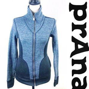 Prana Gray Black Fitted Full Zip Size Small